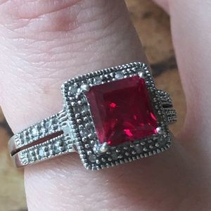 VINTAGE CLYDE DUNEIER 10K WHITE GOLD RUBY RING